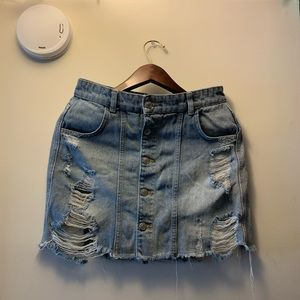 Free people jean mini skirt